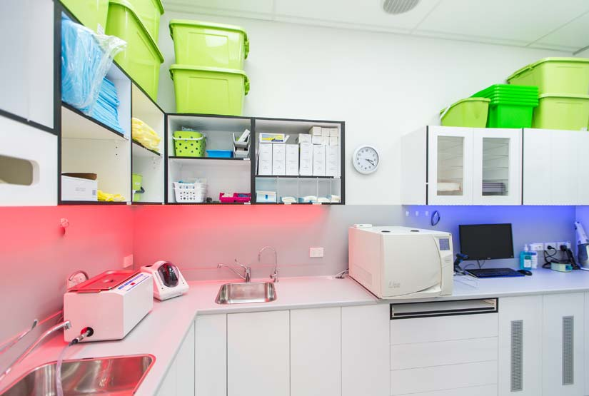 McKibbin Design Dental Care Xtra storage fitout and lighting