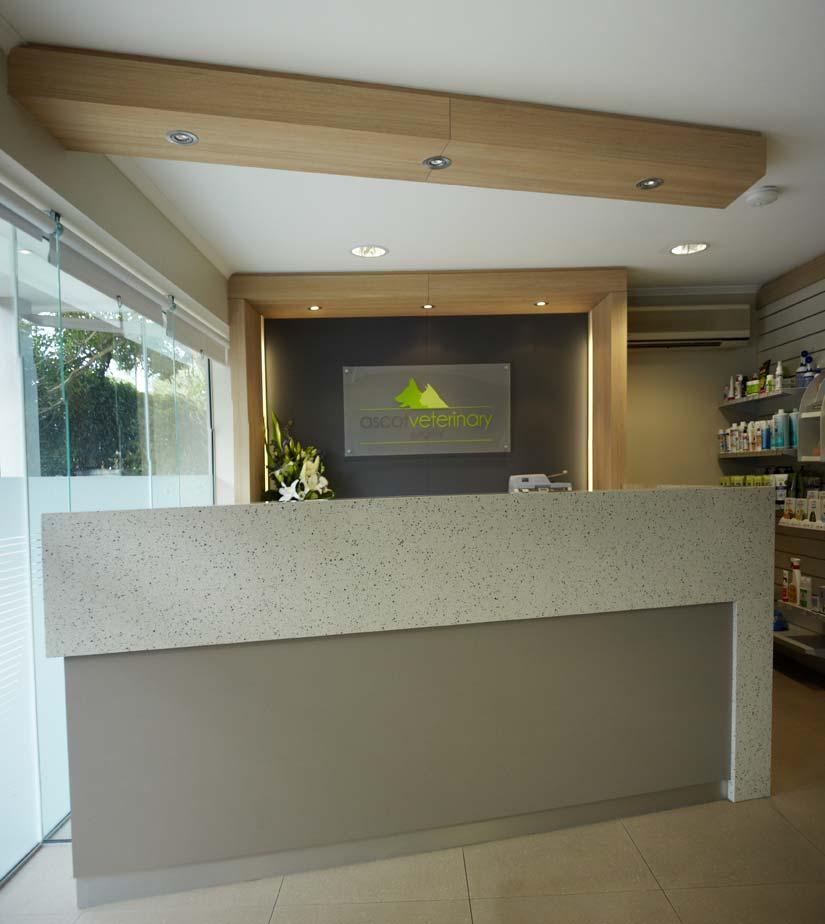 Ascot Veterinary Surgery reception desk design by McKibbin Design