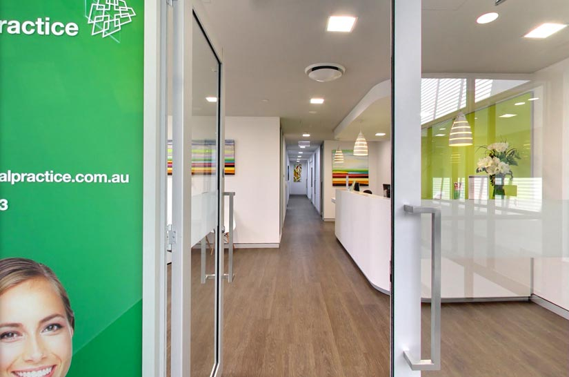 Vale Dental Practice entrance by McKibbin Design