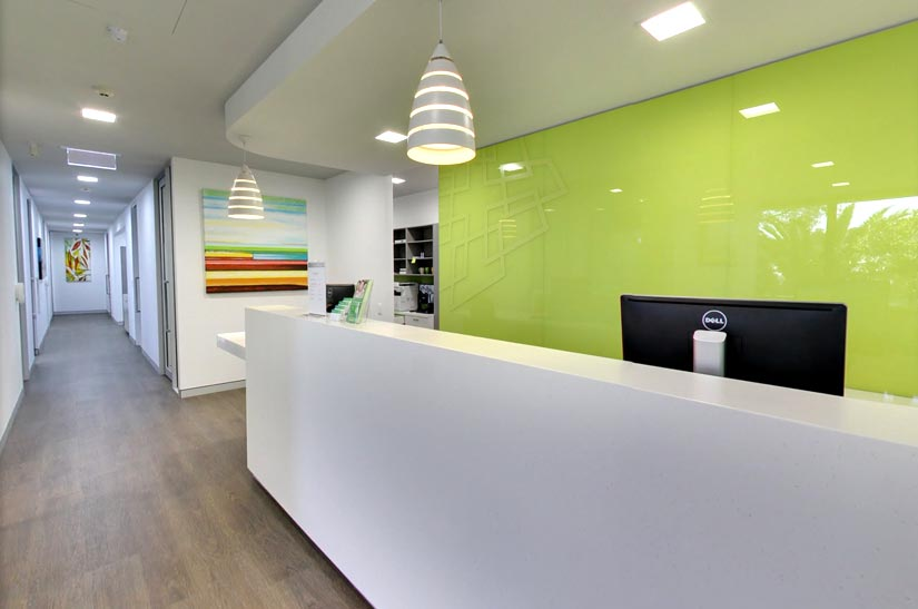 Vale Dental Practice reception desk by McKibbin Design